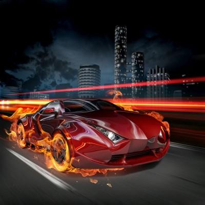 Auto - płonące koła
