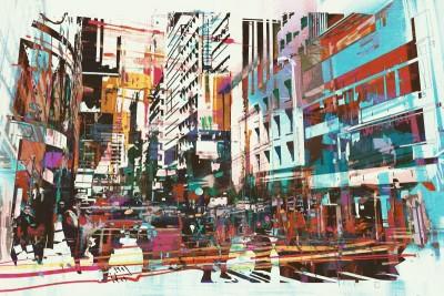 Kolorowe budynki miasto ulica samochody abstrakcja