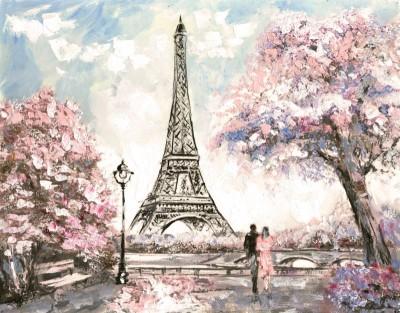 Wieża Eiffla zakochana para miłość Paryż