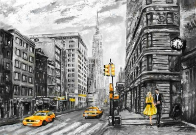 Miasto szarości żółte taksówki para zakochanych ulica budynki