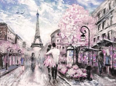 Paryż wieża Eiffla para zakochanych miasto ulica kwiaty
