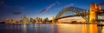 Miasto zachód słońca Sidney most natura