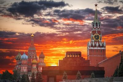 Zabytki Rosja Moskwa zachód słońca katedra Cerkiew Wasyla Błogosławionego