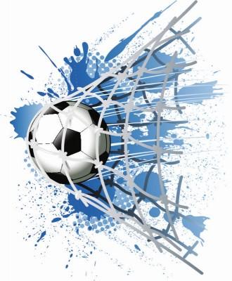 Piłka w siatce biało niebieskie tło piłka nożna bramka rysunek