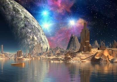 Galaktyczna planeta kosmos miasto przyszłości