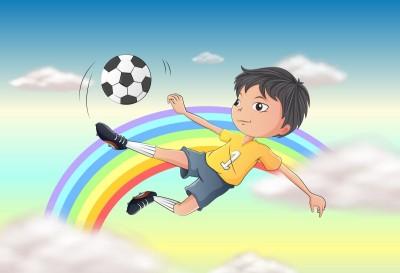 piłkarz , chmury, piłka