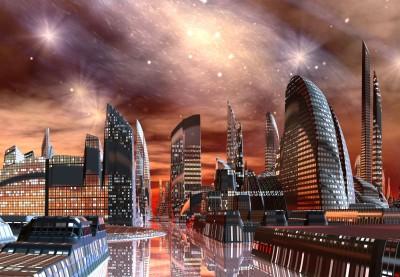 Galaktyczne miasto przyszłości nocą