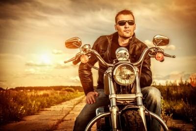 mężczyzna, motocykl