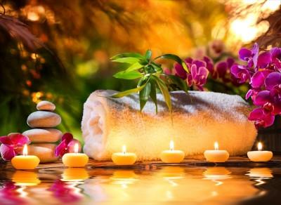 świeczki, ręcznik