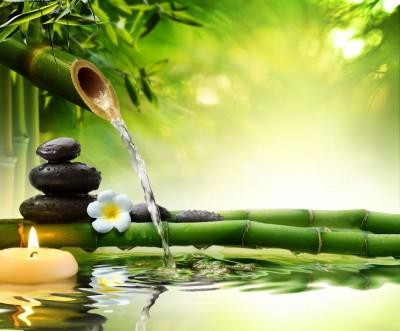 świeczki, kamienie, bambus