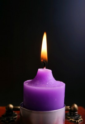 fiolet, świeczka, płomień