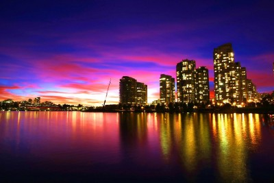 kolorowe miasto, światła