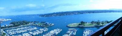 panorama, morze, statki