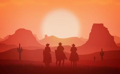 kowboje, góry , pustynia