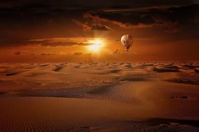 słońce, pustynia, balon